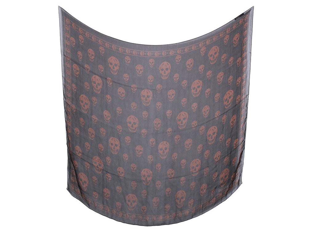 Alexander McQueen Black and Brown Skull Scarf