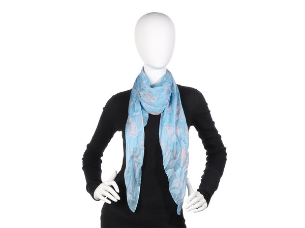 Alexander McQueen Blue and Pink Skull Scarf