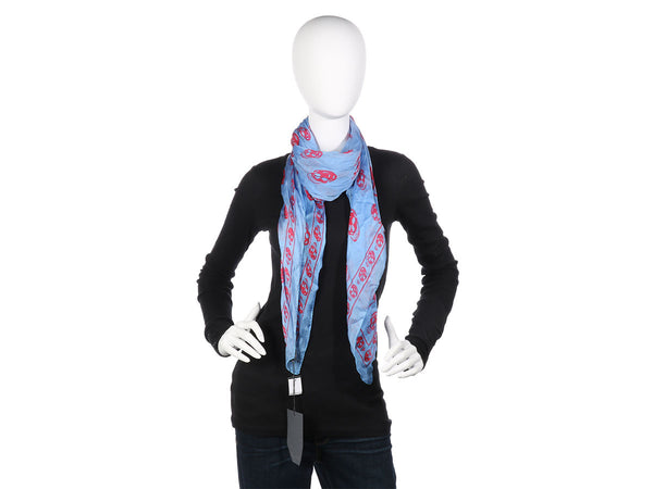 Alexander McQueen Blue and Red Skull Scarf