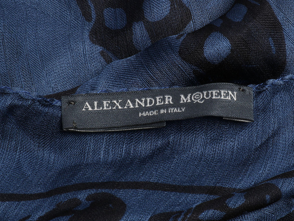 Alexander McQueen Navy and Black Skull Scarf