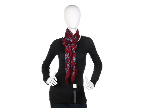 Alexander McQueen Maroon and Lavender Skull Scarf