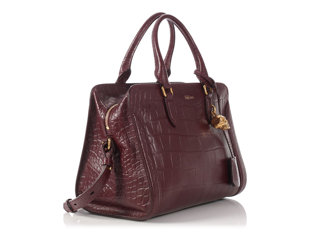 Alexander McQueen Bordeaux Embossed New Padlock Bag