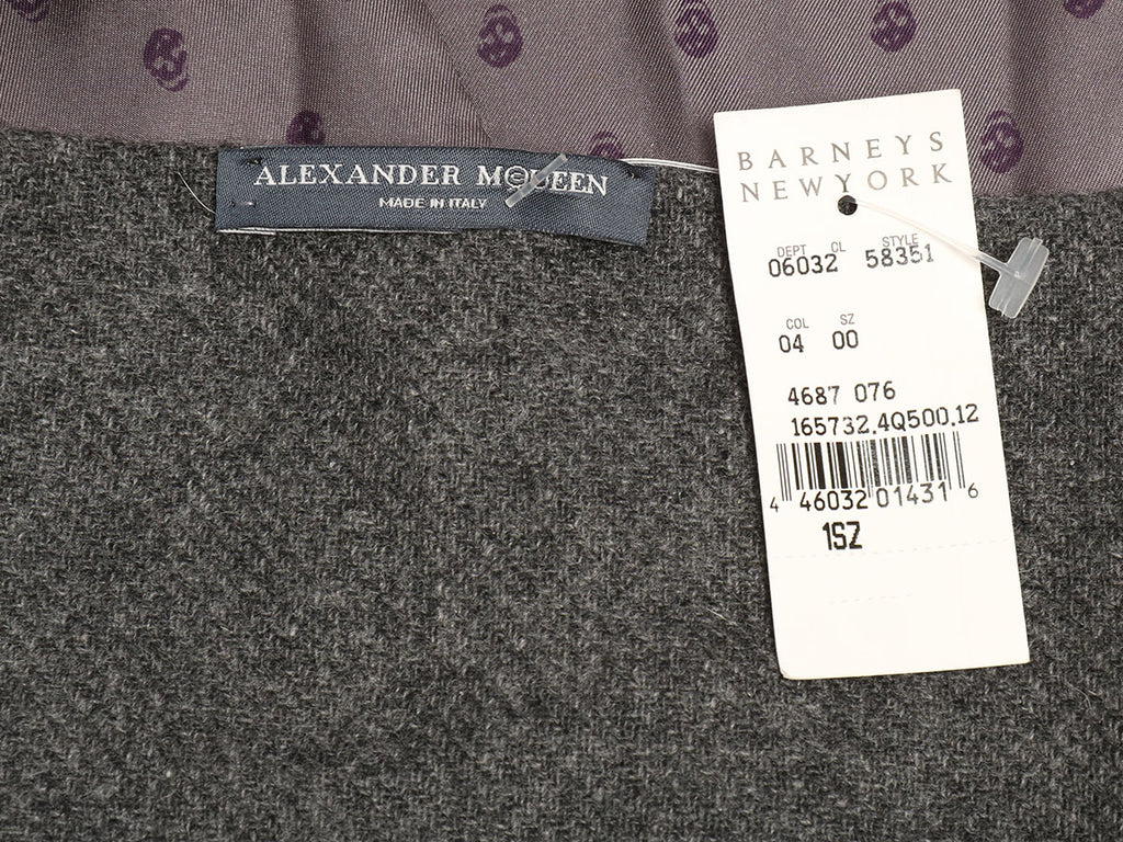 Alexander McQueen Gray Silk and Cashmere Skull Scarf