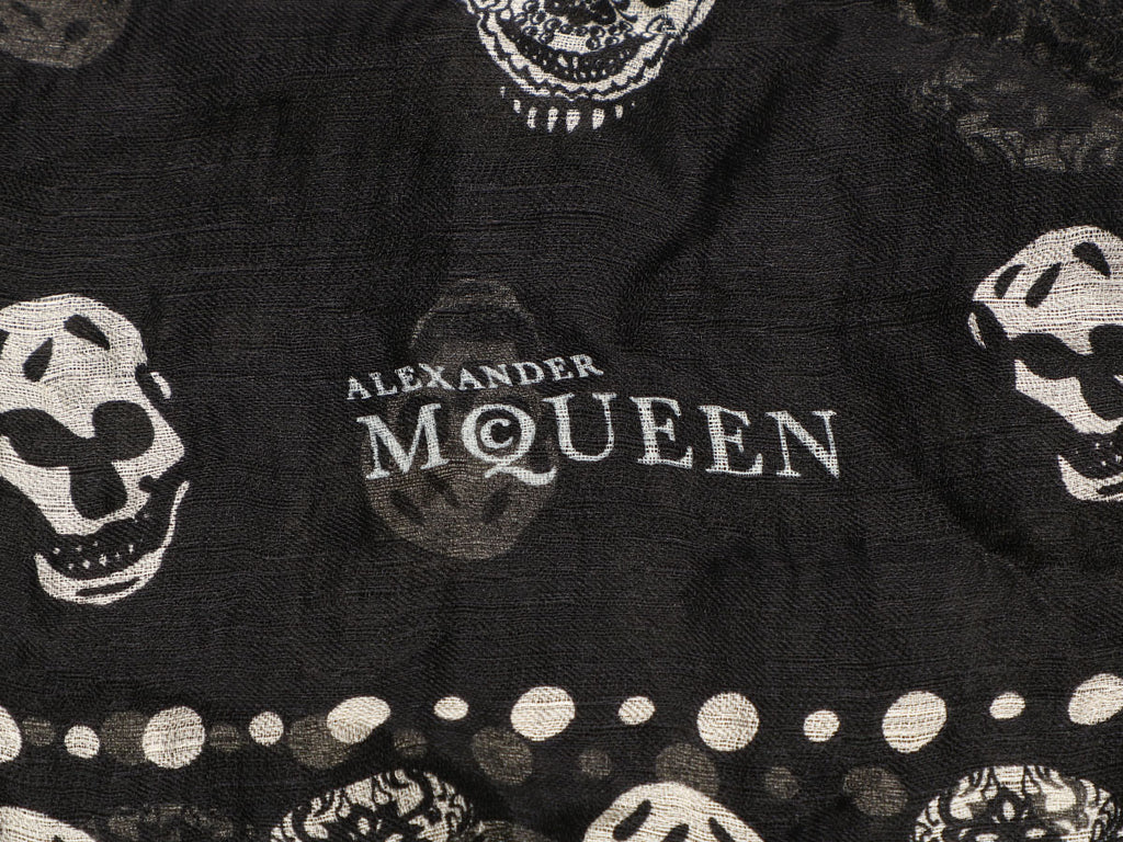Alexander McQueen Black and White Silk Skull Scarf