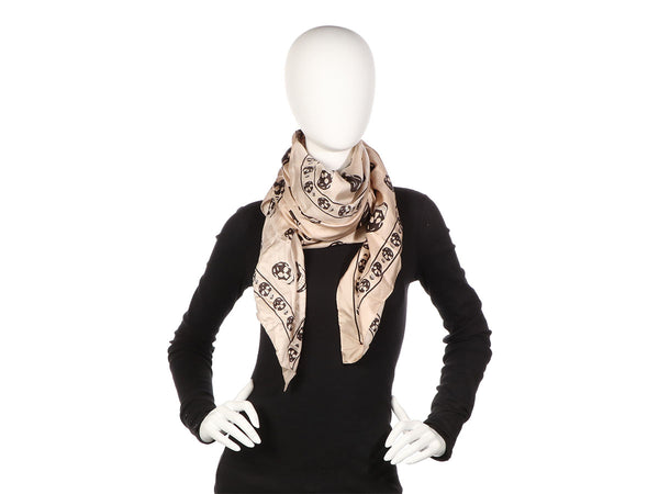 Alexander McQueen Beige and Black Silk Skull Shawl