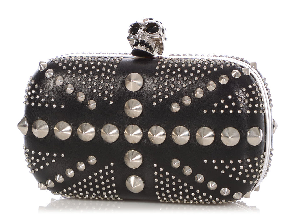 Alexander McQueen Black Studded Union Jack Clutch
