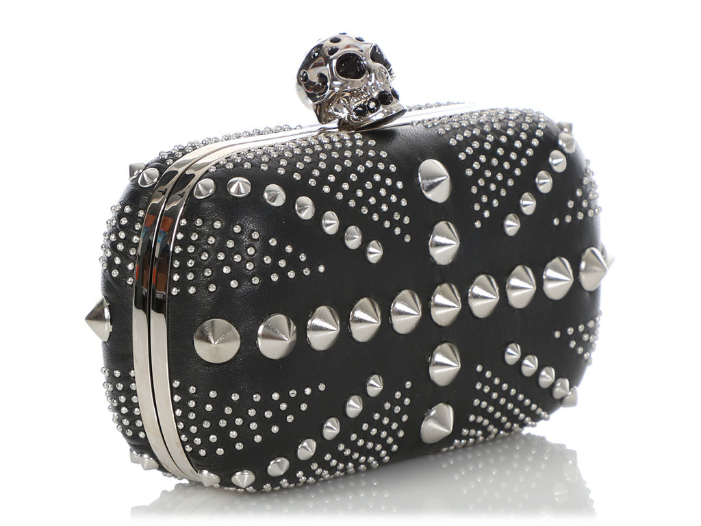 Alexander McQueen Black Studded Union Jack Box Clutch