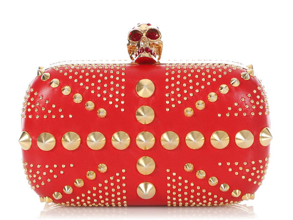 Alexander McQueen Red Studded Britannia Skull Box Clutch