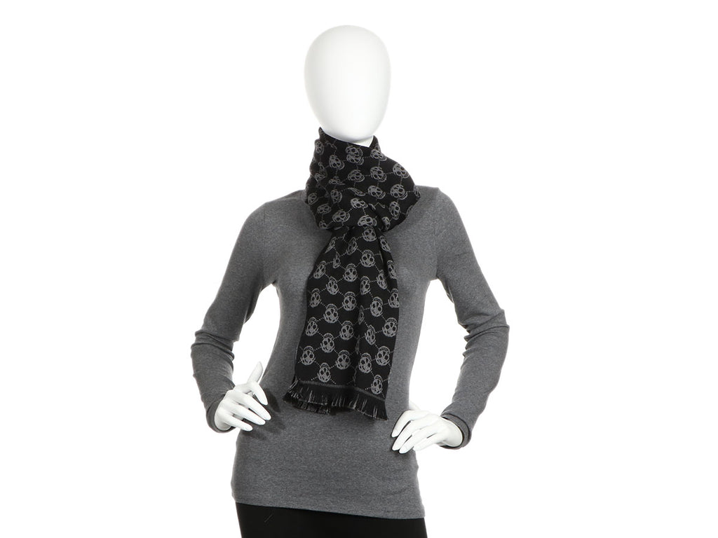 Alexander McQueen Black and Gray Reversible Skull Scarf