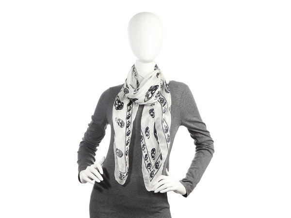 Alexander McQueen White and Black Skull Silk Scarf