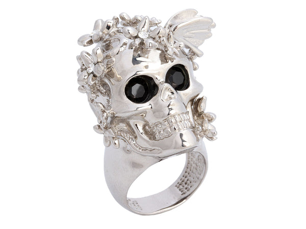 Alexander McQueen Silver Skull and Butterfly Ring