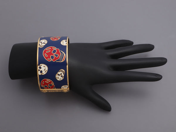 Alexander McQueen Wide Enamel Skull Bangle