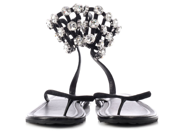 Alexander Wang Aubrey Crystal Thong Sandals