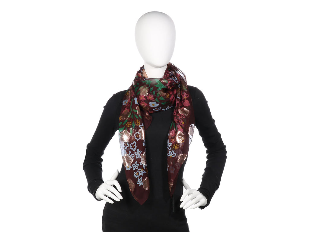 Burberry Floral Metallic Square Scarf