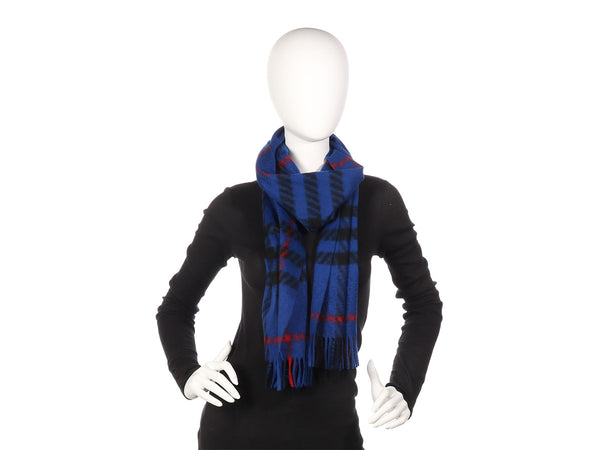Burberry Blue Cashmere Check Scarf
