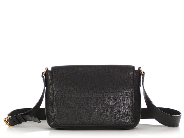 Burberry Small Black Soft Leather Burleigh Crossbody Bag
