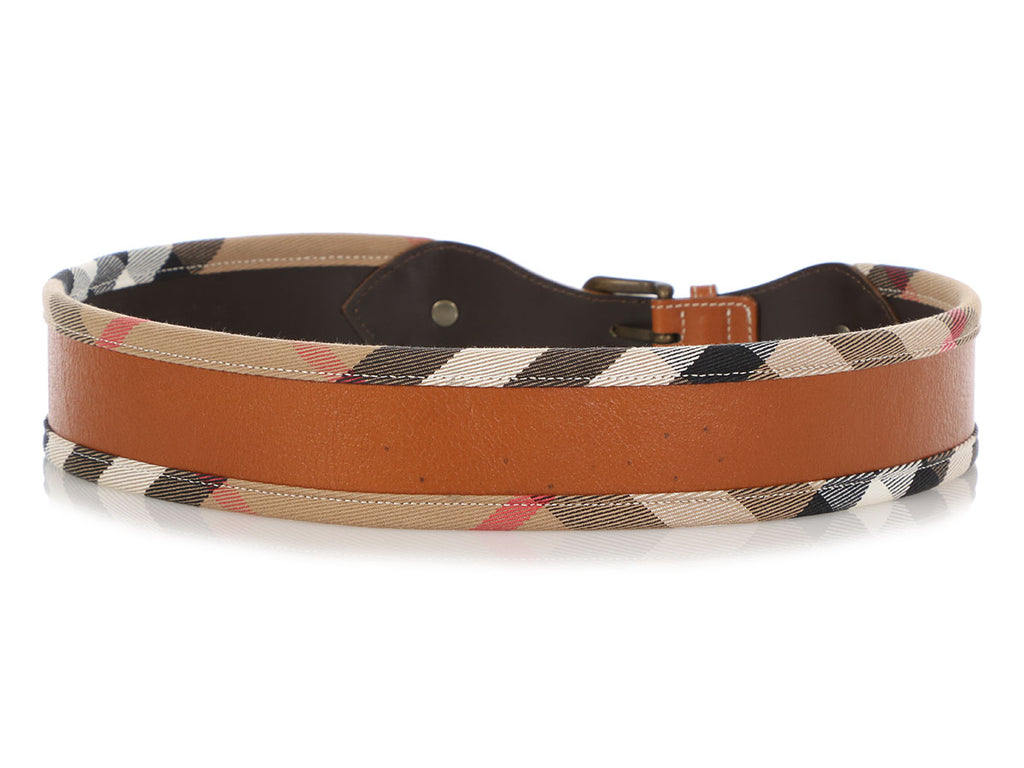 Burberry Brown Leather and Check Wide Belt