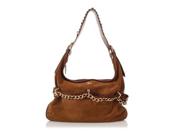 Burberry Brown Suede Chain Hobo