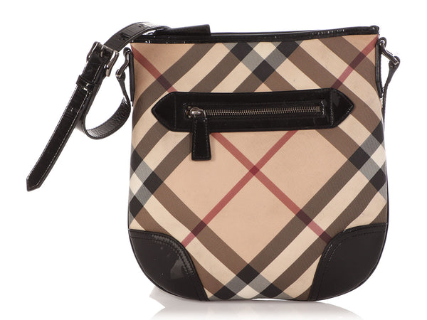 Burberry Check Canvas and Patent Crossbody Bag