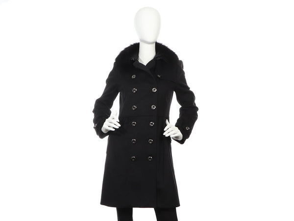 Burberry Black Coatbridge Fox Collar Wool Cashmere Coat