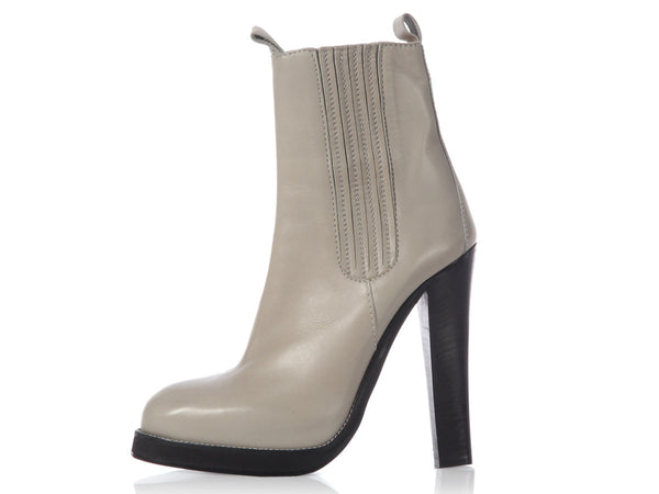 Balenciaga Clay Leather Platform Ankle Boots