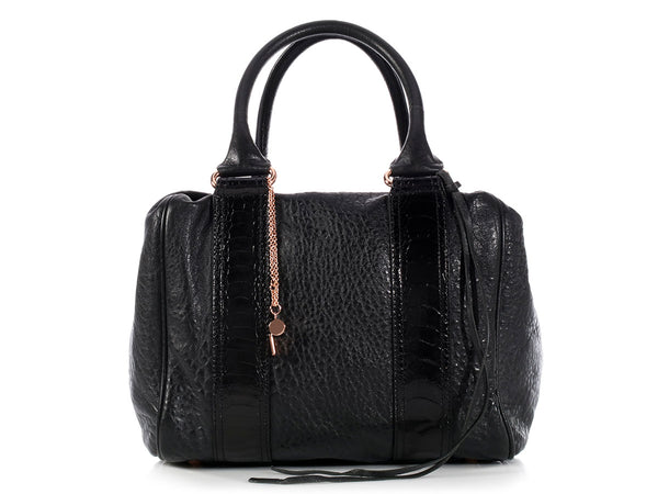 Balenciaga Black Ostrich Leg Trim Whistle Bag