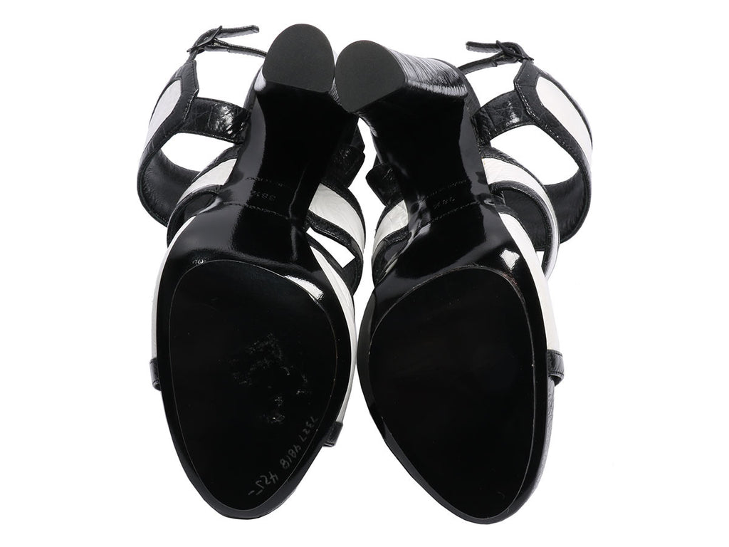 Balenciaga Black and White Patent Sandals