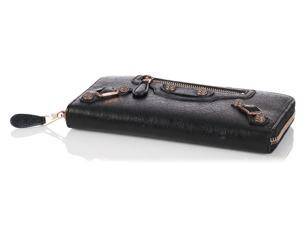 Balenciaga Black Giant 12 Rose Gold Continental Wallet