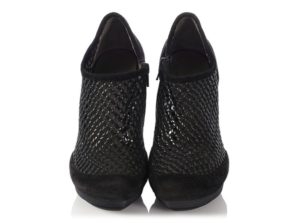 Balenciaga Black Suede Netted Woven Booties