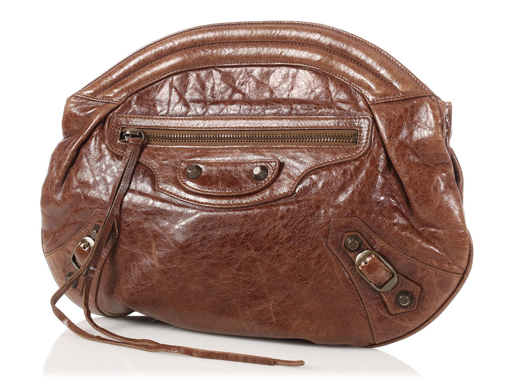 Balenciaga Brown Classic Oval Clutch