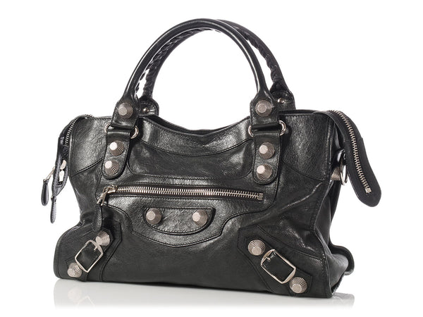 Balenciaga 2009 Black Agneau Giant 21 Silver City