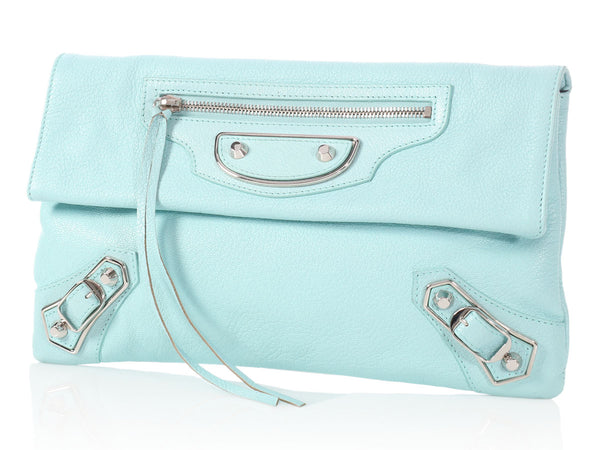 Balenciaga 2015 Bleu Maldives Chèvre Metallic Edge Envelope Clutch