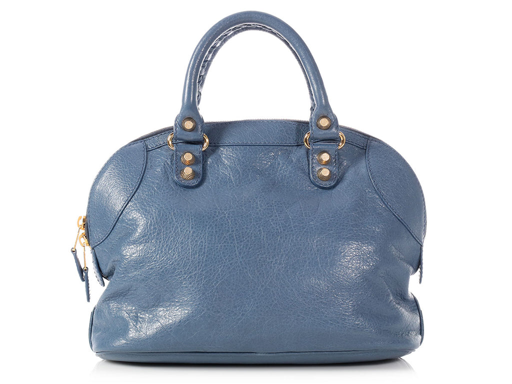 Balenciaga Mini Slate Blue Giant 12 Gold Bowling Bag