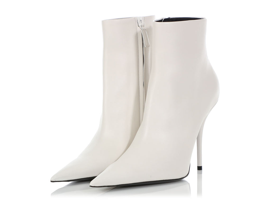 Balenciaga White Knife Ankle Boots