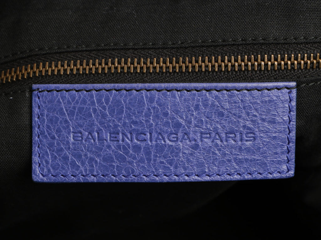 Balenciaga Purple Distressed Leather Classic Day Bag