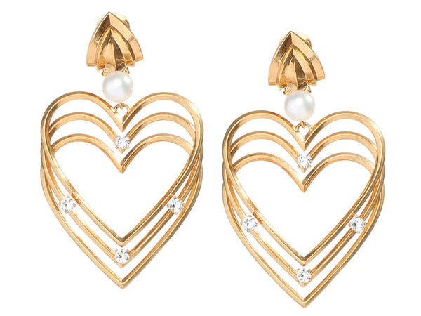 Balenciaga Gold-Tone Crystals and Faux Pearl Heart Clip-On Earrings