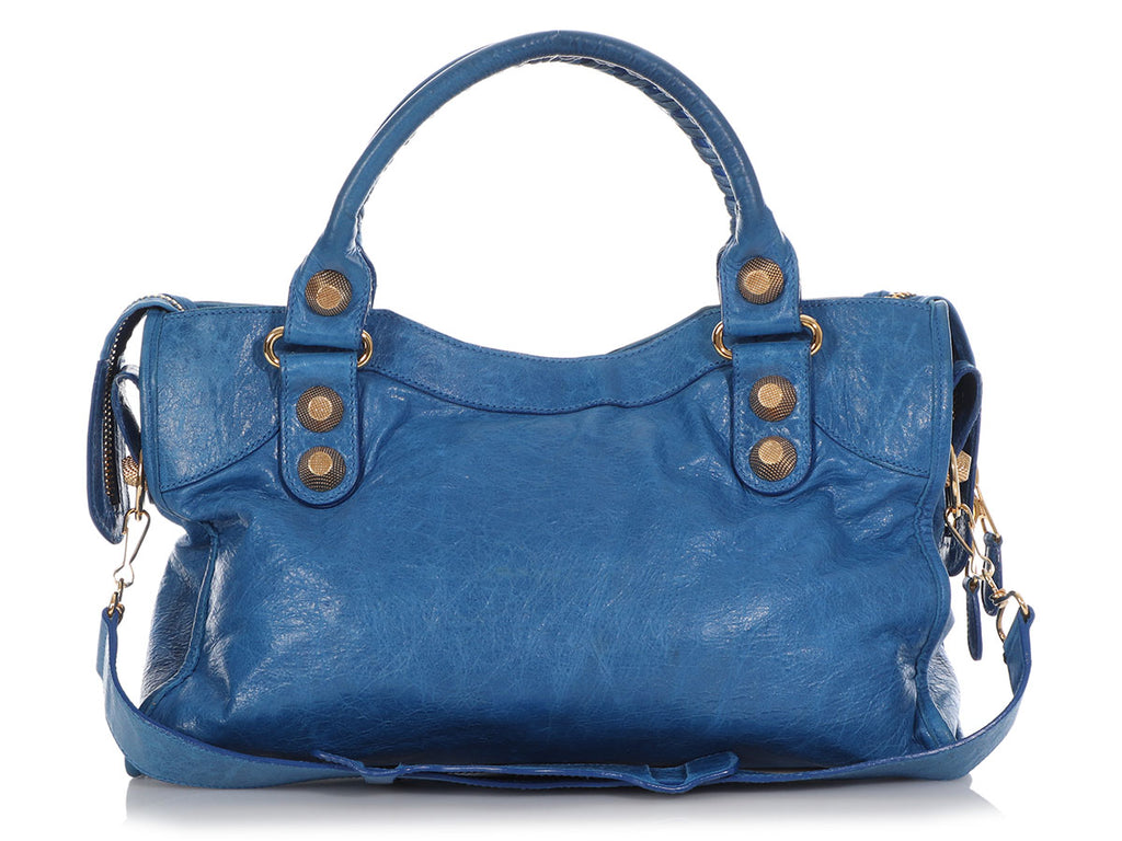 Balenciaga 2008 Blue Agneau Giant 21 Gold City