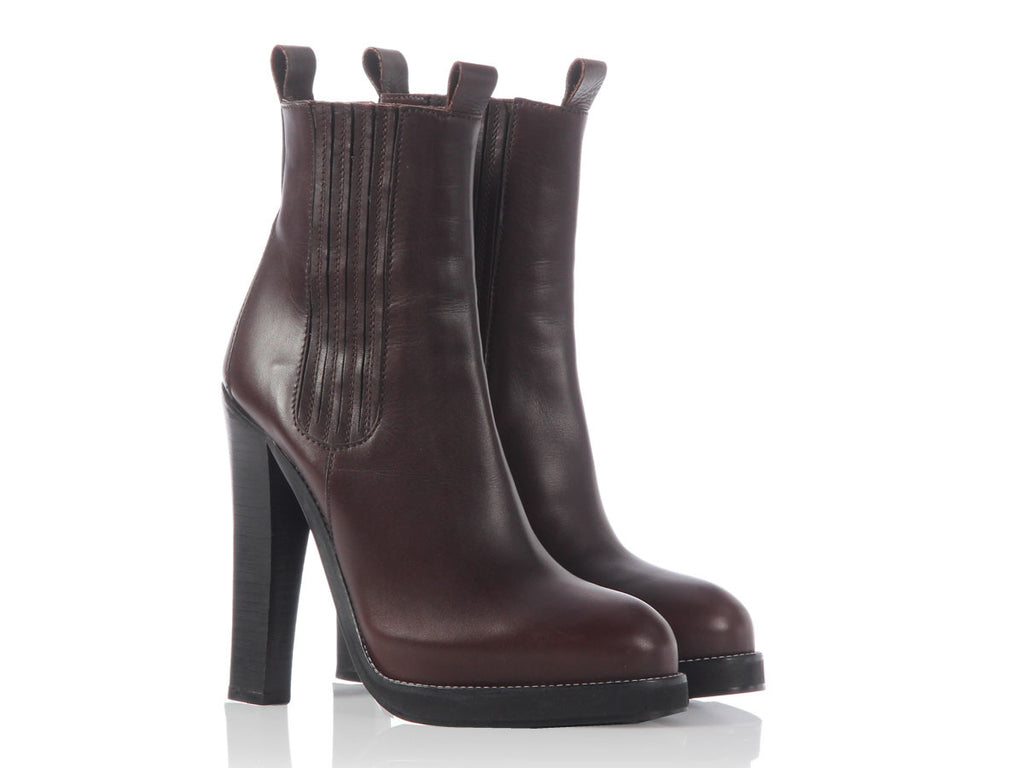 Balenciaga Brown Leather Platform Ankle Boots