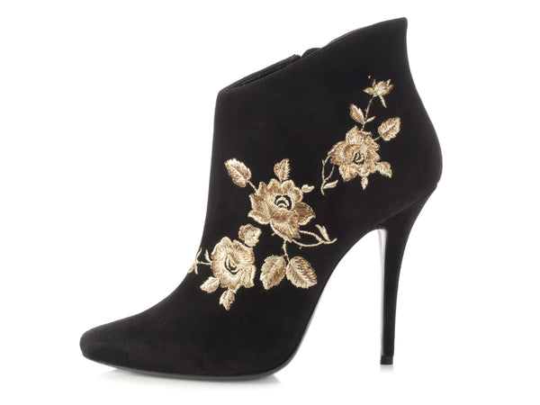 Balmain Black Suede Floral Embroidered Anita Booties