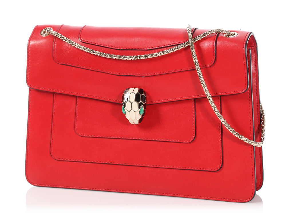 Bulgari Red Serpenti Forever Flap Cover Bag