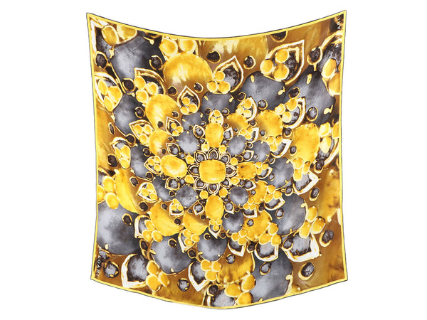 Bulgari Gold and Gray Jewels Silk Scarf