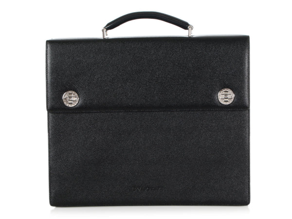Bulgari Black Triple Gusset Briefcase