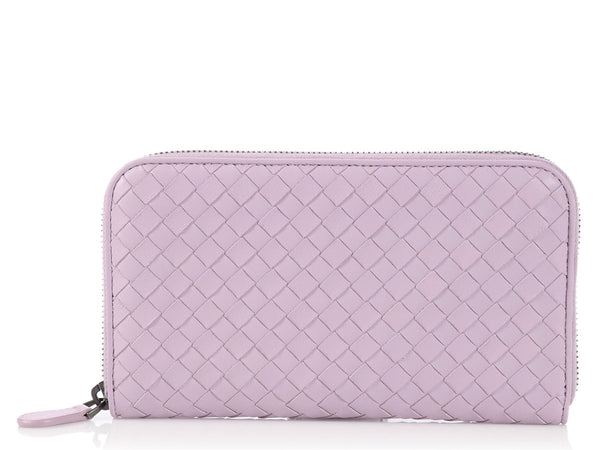Bottega Veneta Lavender Zip Around Continental Wallet