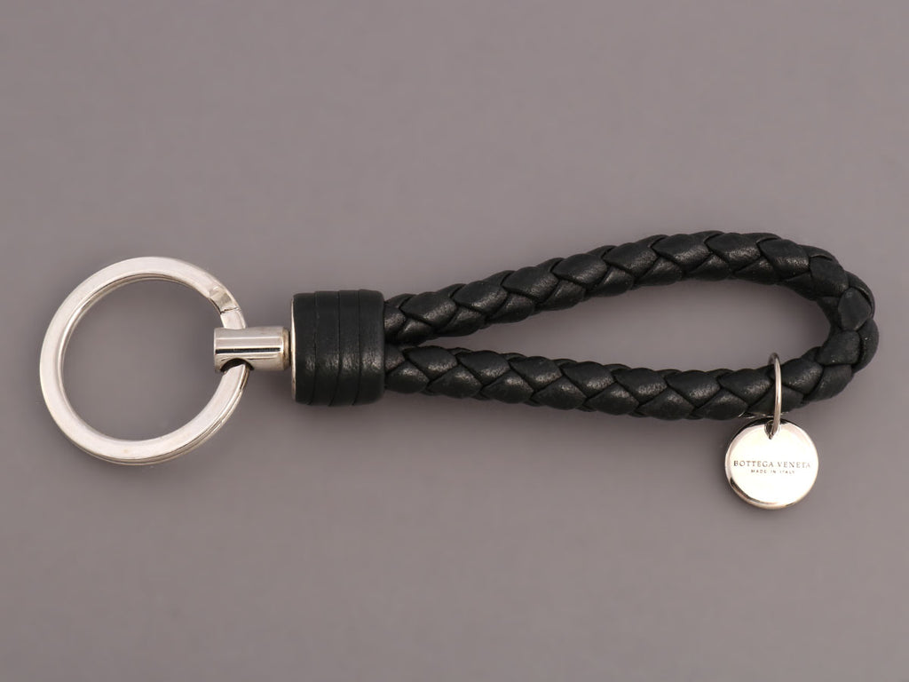 Bottega Veneta Black Braided Leather Key Ring