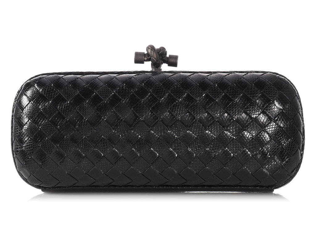 Bottega Veneta Nero Karung Snakeskin Elongated Knot Clutch
