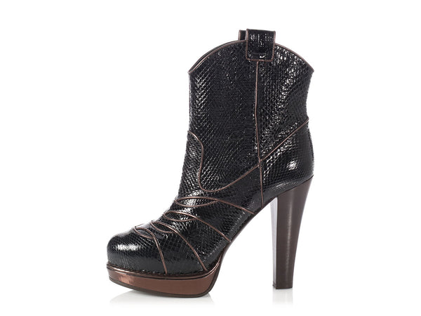 Bottega Veneta Black and Bronze Snakeskin Ankle Boots
