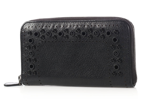 Bottega Veneta Black Zip Around Wallet