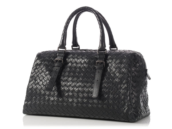 Bottega Veneta Black Woven Leather Satchel