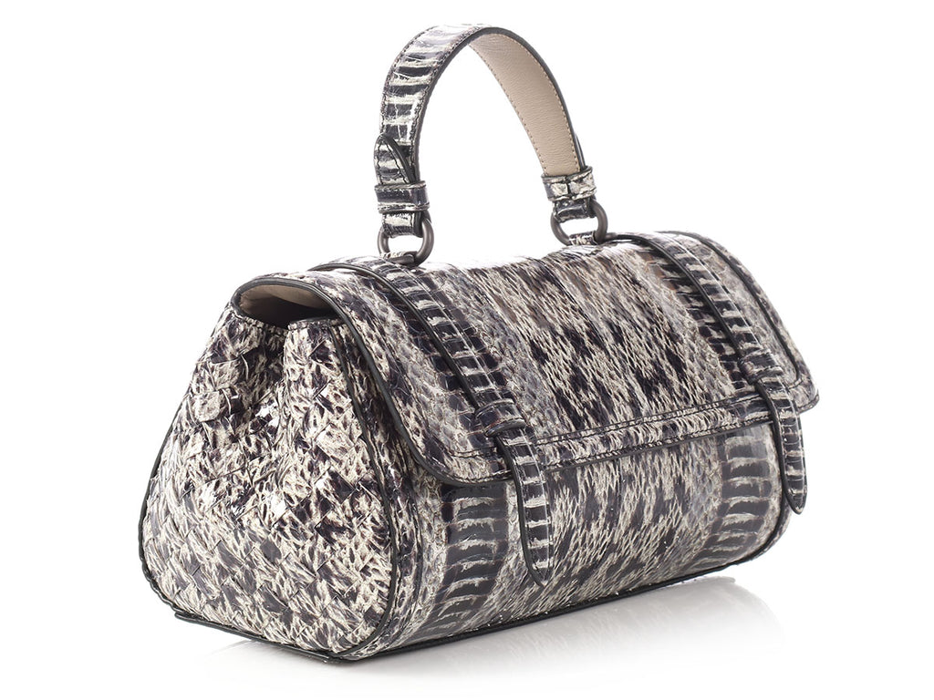Bottega Veneta Black and Gray Python and Eel Top Handle Bag