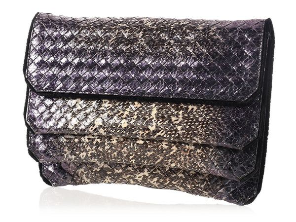 Bottega Veneta Iridescent Snakeskin Three-Flap Clutch